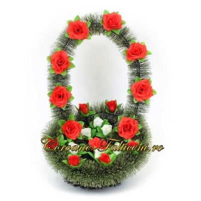 Coroane artificiale Falticeni Cos 2 mic cu toarta si flori